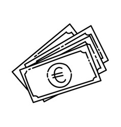 euro icon doodle hand drawn or outline icon style vector image