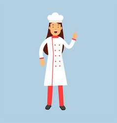 female chef cook character in uniform showing hand vector image