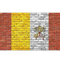Flag of Vatican City on brick wall vector