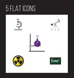 Flat icon science set of scope irradiation flask vector