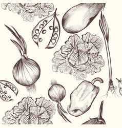 Floral seamless pattern with engraved vegetables vector