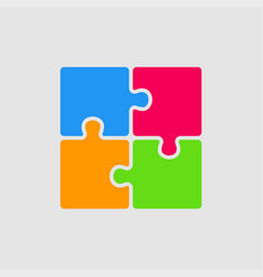 four color pieces puzzle square 4 steps puzzle vector image