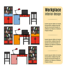 Furniture for workplace infographic vector