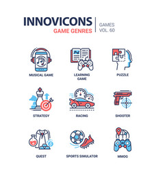 Game genres - line design icons set vector