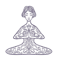 Girl in a yoga pose meditation vector
