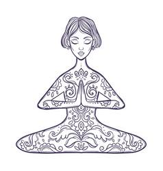 Girl in a yoga pose meditation vector