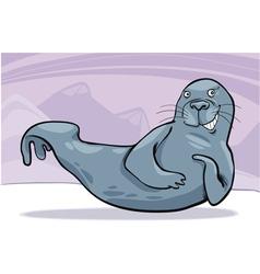 Grey seal on ice vector