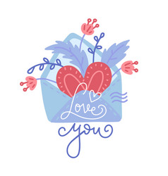 hand drawn envelope with heart florals and vector image