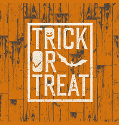 Happy halloween logotype on orange colored wooden vector