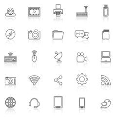 Hi tech line icons with reflect on white vector image