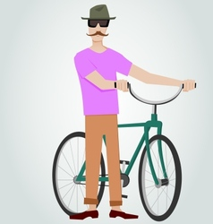 Hipster with bicycle vector image vector image