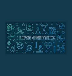 I love genetics colored outline horizontal vector