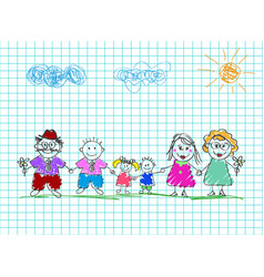 kids drawings of happy family colored pencil hand vector image