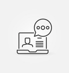 Laptop with speech bubble line icon video vector