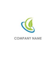 leaf nature organic logo vector image