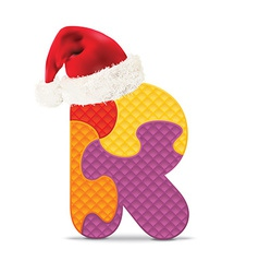 Letter R written with alphabet puzzle vector