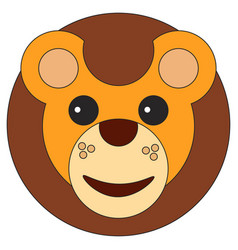 lion cub face in cartoon flat style vector image