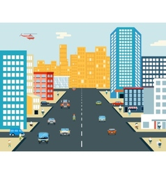 Live city street people life car ride background vector