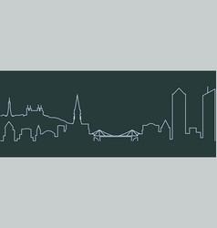 Lyon single line skyline vector