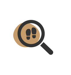 Magnifying glass looking for a footprint isolated vector
