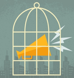 Megaphone in a cage vector