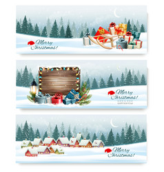 Merry christmas holiday banners with a winter vector