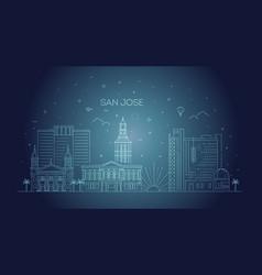 minimal san jose city linear skyline vector image