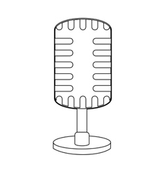 Monochrome contour with condenser microphone vector