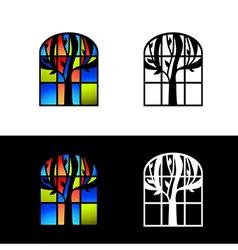 Mosaic glass window vector