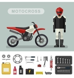 Motocross bike with parts vector