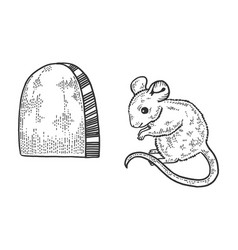 Mouse and hole in wall sketch vector