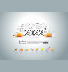 New year 2022 with creative pencil design vector