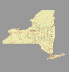 New york city accurate exact detailed state map vector