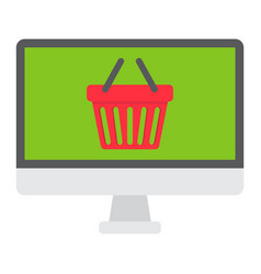 Online shopping flat icon basket and pc vector