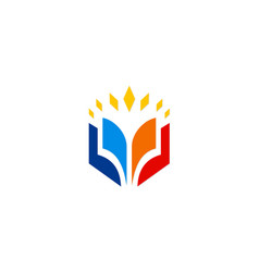 Open book education icon logo vector