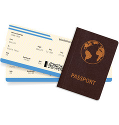 Passport and airline boarding pass ticket vector