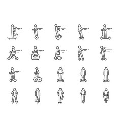 personal transportation icon set vector image