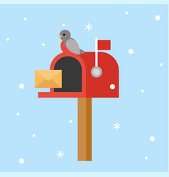 Postbox and bird for christmas theme poster flat vector