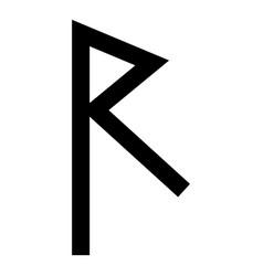 raido rune raid symbol road icon black color flat vector image