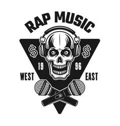 rap music emblem with skull in headphones vector image