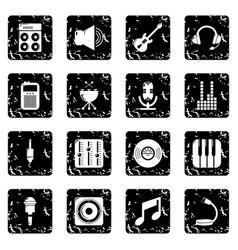 Recording studio symbols icons set grunge vector