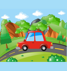 Red car riding on the road vector