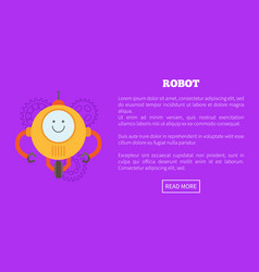 robot character web page text vector image