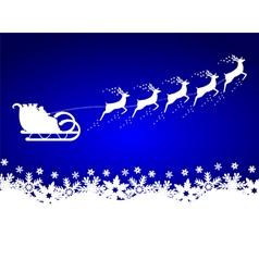 santa claus rides in a sleigh reindeer vector image