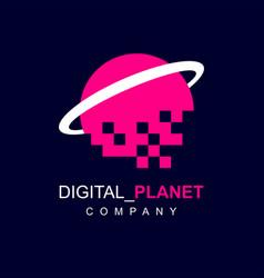 Saturn planet digital pixel logo vector