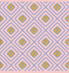 Seamless geometric diamond pattern on pink vector