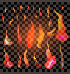 set isolated realistic orange and red fire vector image