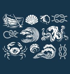 set nautical elements for marine design vector image