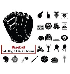 set of 24 baseball icons vector image