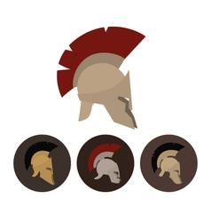 Set of four antique helmets vector